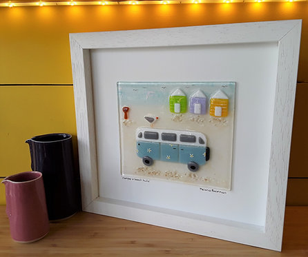 Fused Glass Picture  - Campervan & Beach Huts