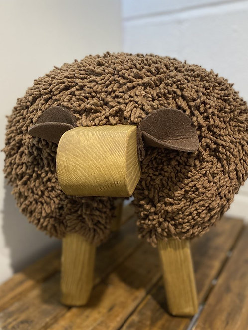 Chocolate Brown / Oak Sheep Footstool