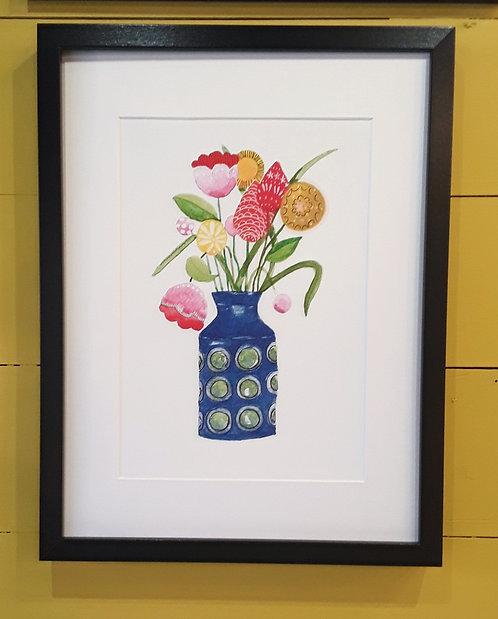 Scandi Flower Print Framed - Blue Vase