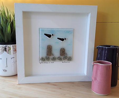 Fused Glass Picture  - Oystercatchers on Wood