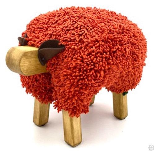 Tomato Red/Oak Ewemoo Sheep Footstool