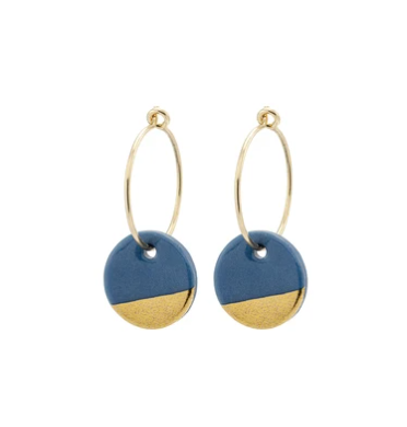 Porcelain Steel Grey Gold Dipped Earrings