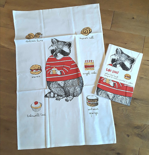 Mr Racoon Loves CakesTea towel