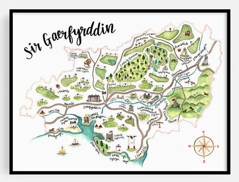 Sir Gaerfyrddin Map Print