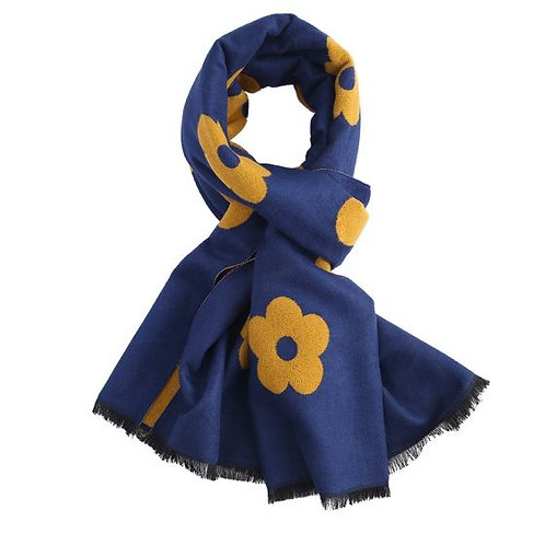 Scarf -Navy Terry Flowers