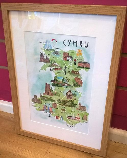 Framed Cymru Map