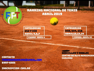 Ranking Nacional de Tenis - ABRIL 2019