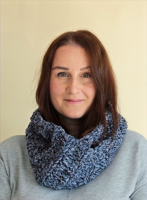 Portrait of Veronika with Blue Star Crochet on Handmade by Stacy J Blog