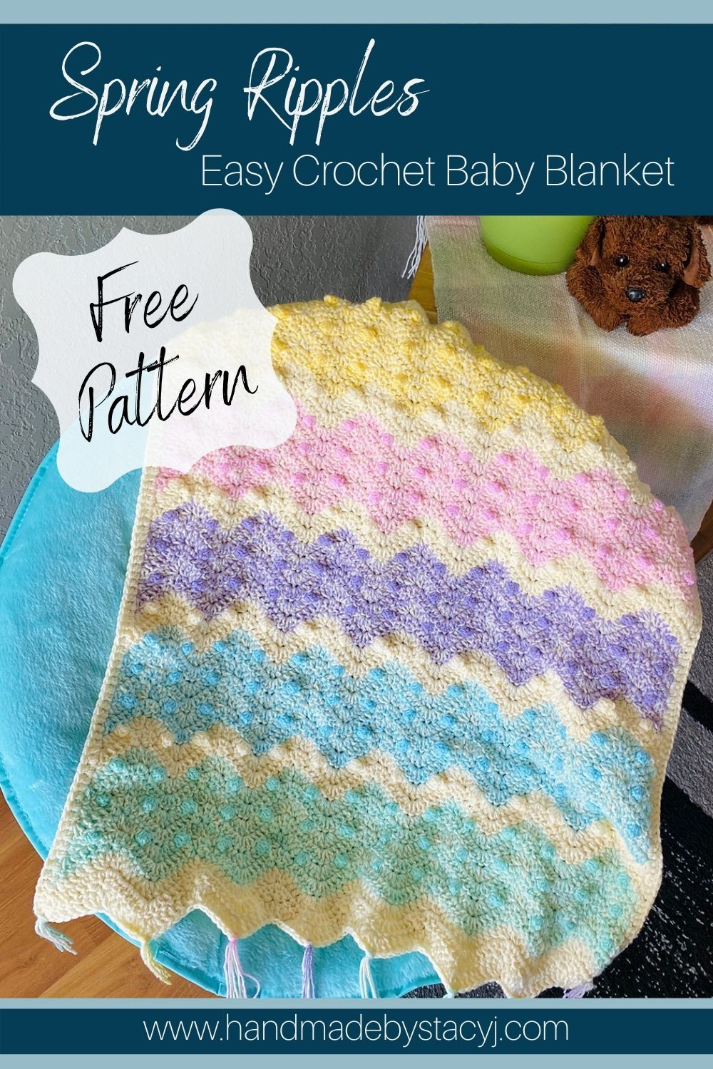 Image of Spring Ripples Crochet Baby Blanket by Handmade by Stacy J