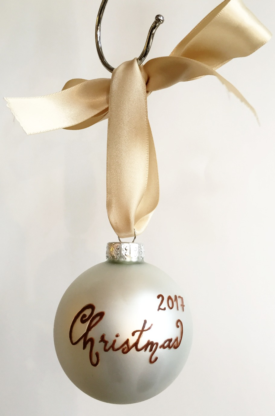 Christmas Ornament Text Closeup