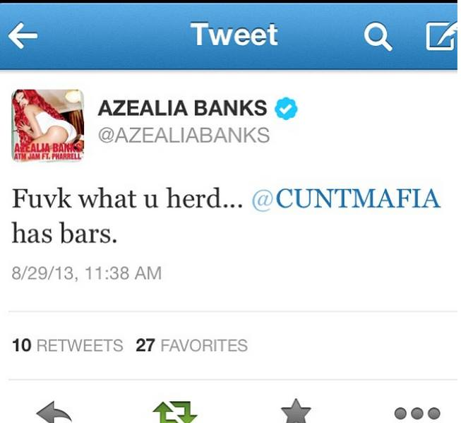 AZEALIA BANKS SHOUTS OUT CUNTMAFIA