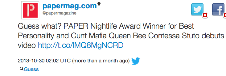 PAPER MAGAZINE: NIGHT LIFE AWARD