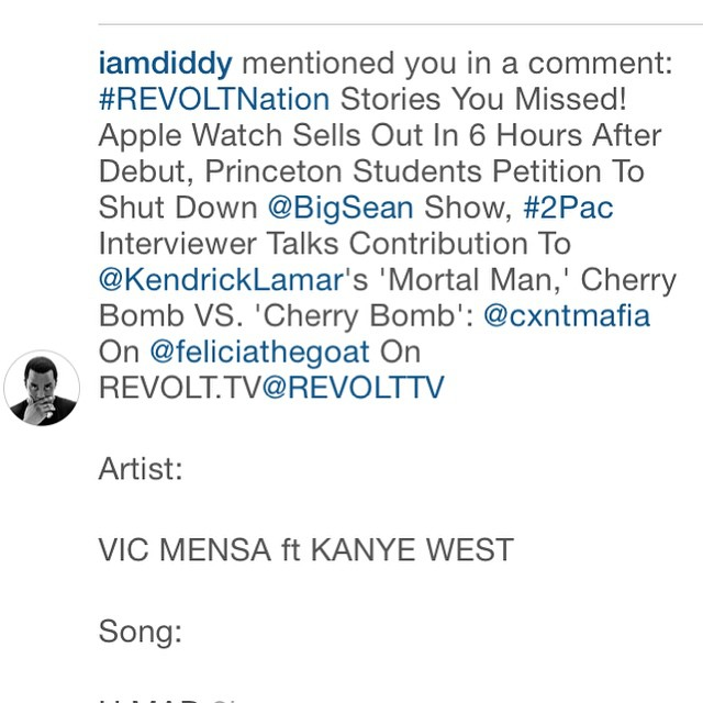 Diddy IG / Revolt TV mention