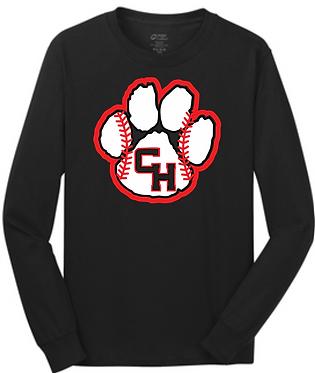 CHHS Baseball Paw w/Stitches Long Sleeve