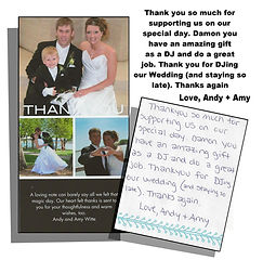 Wedding thank you lett from Andy and Amy