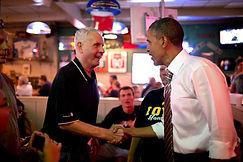 Obama shaking hands