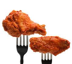 Chicken on a fork