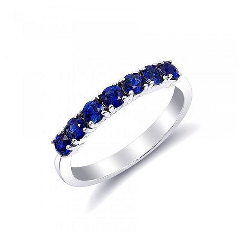 14k White Gold 0.74ct TGW Natural Blue Sapphires Wedding Band