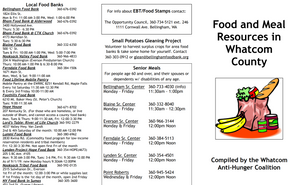 Food and Meal Resources in Whatcom County, Compiled by the Whatcom Anit-Hunger Coalition