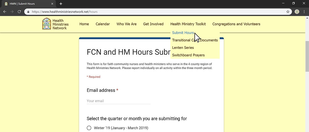 Faith community nurses and health ministers can submit their hours on the Health Ministries Network website