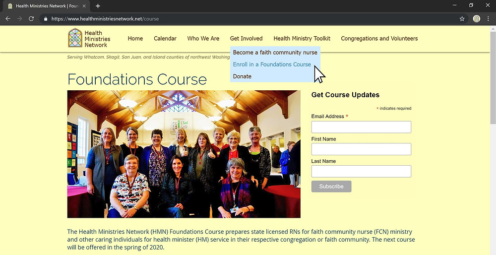 Health Ministries Network's Foundations in Faith Community Nursing Course.