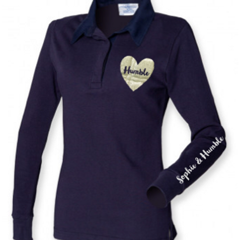 Sparkle Heart Printed Ladies Rugby Shirt