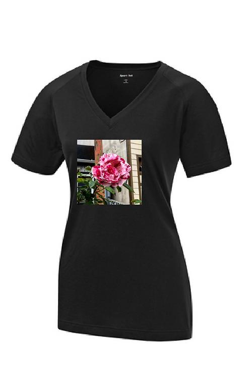 Rose Shirt, Short Sleeve Dry-Fit, V Neck, Women's