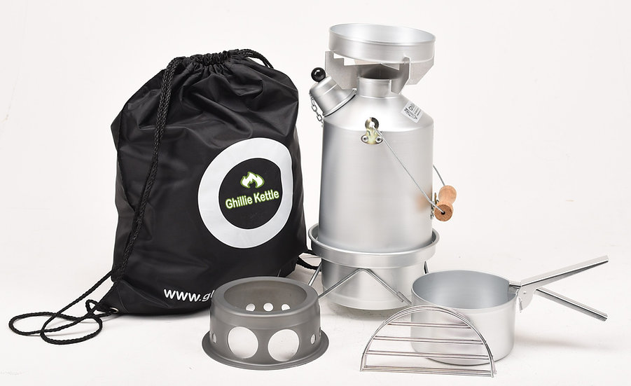THE EXPLORER, COOK KIT & HOBO STOVE - SILVER ANODISED