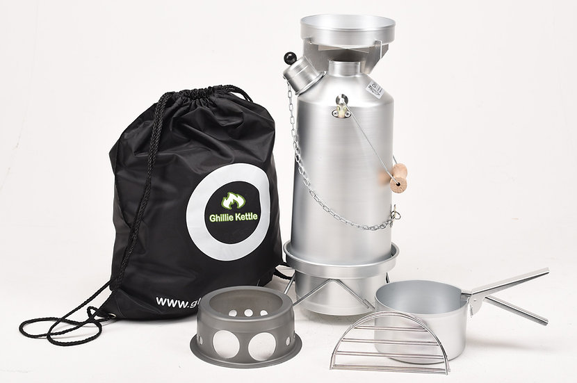 THE ADVENTURER, COOK KIT & HOBO STOVE - SILVER ANODISED