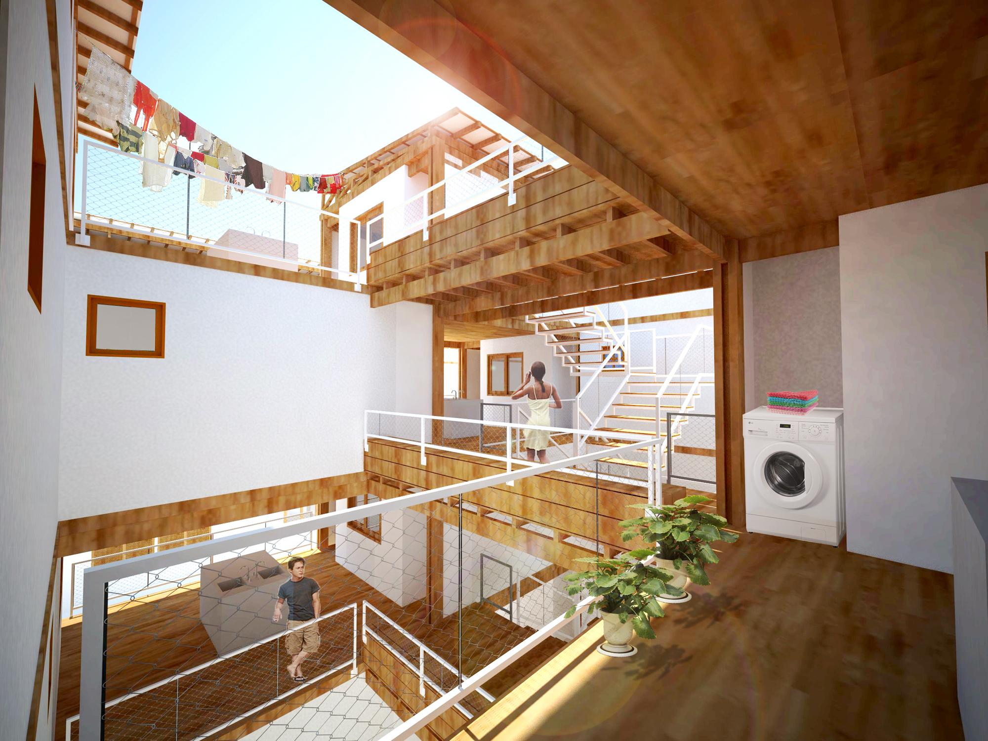 Viver Entre pátios. Habitação social