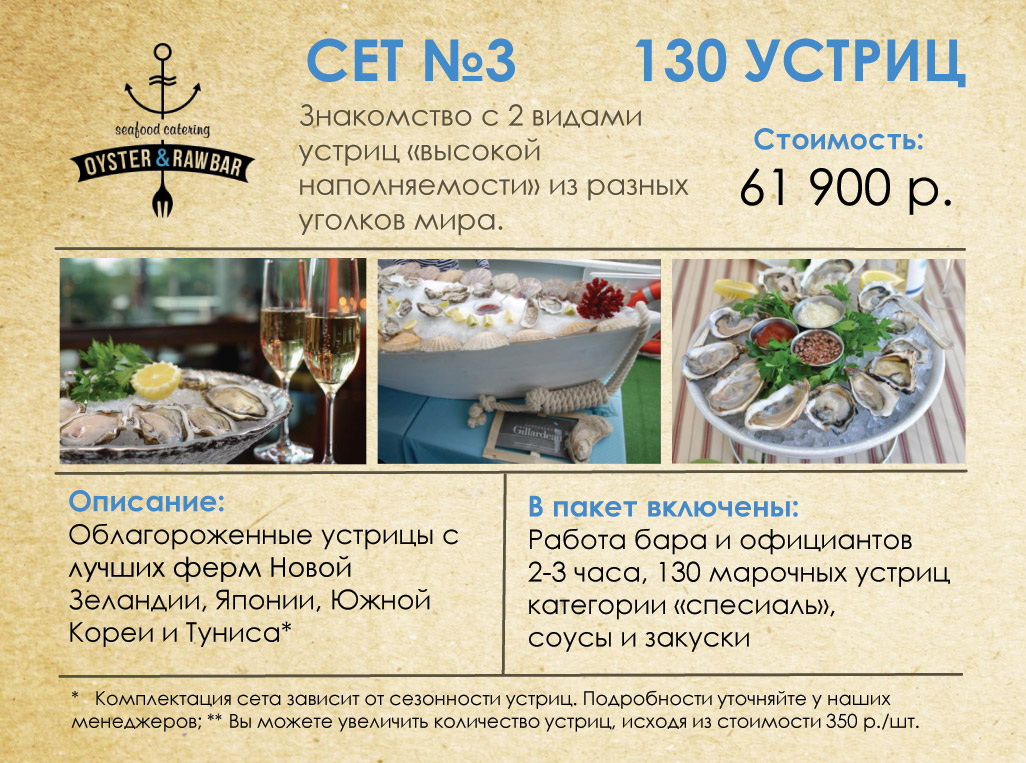 Сет №3 - 130 устриц - 61900 рублей