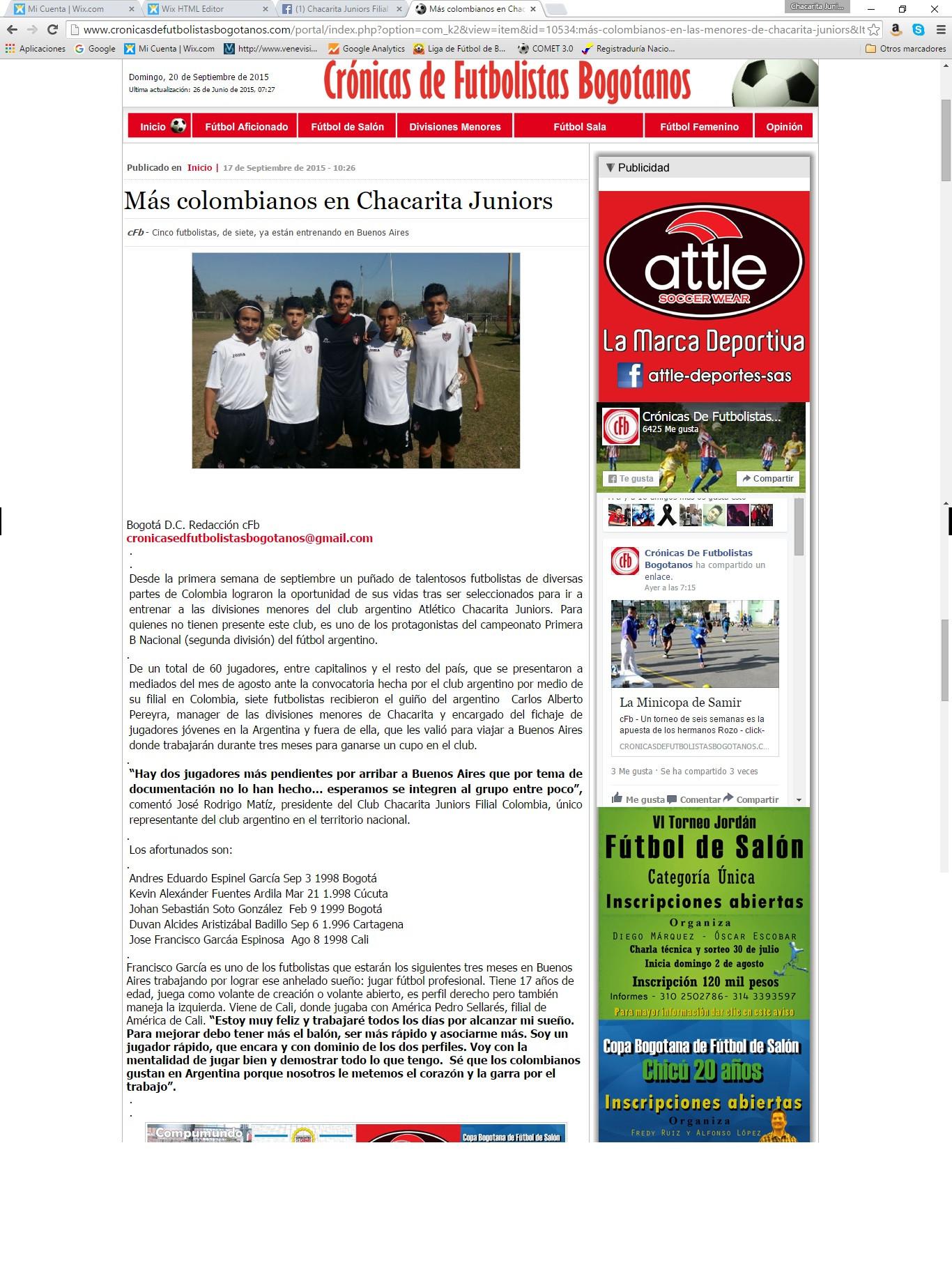 Cronicas de futbolistaas Bogotanos Sept