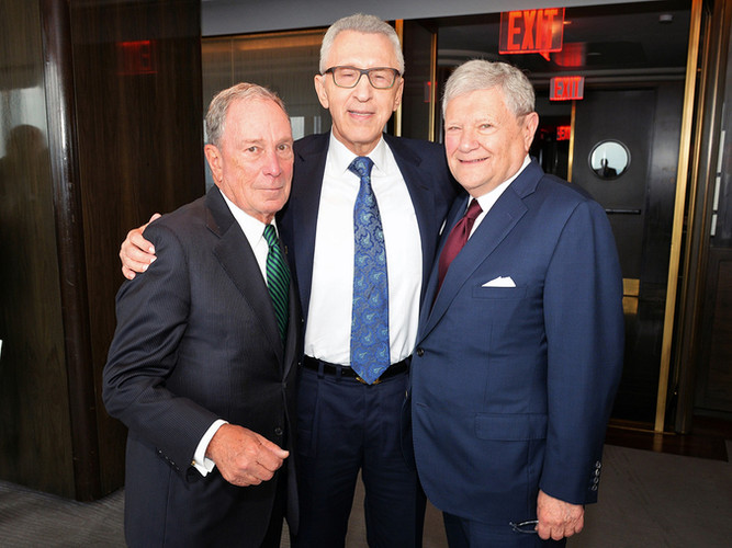 Sandy with Michael Bloomberg, left, and Columbia roommate Jerry Speyer.
