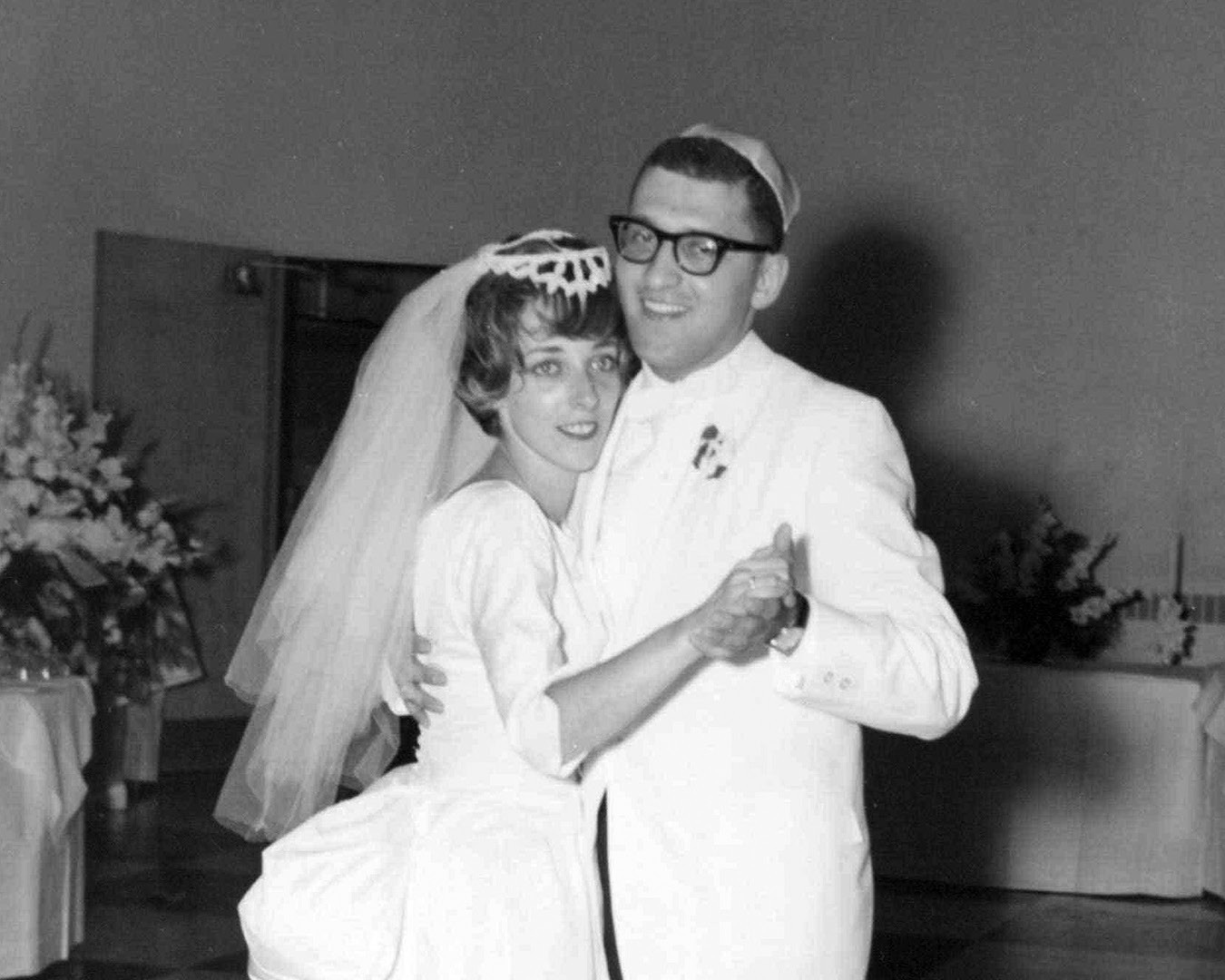 Sandy and Sue dancing at their wedding, 1962. Sandy insisted that the band include some numbers featuring an unknown vocalist named Arthur Garfunkel.
