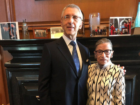 With his Watergate neighbor and dear friend Justice Ruth Bader Ginsburg in her chambers.