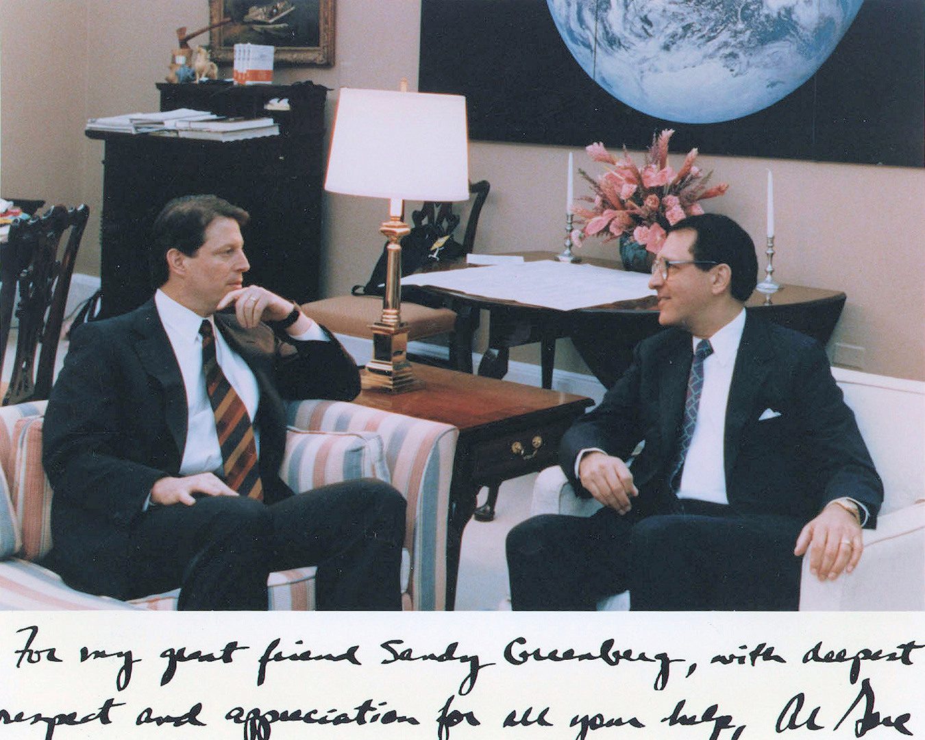 "With then-Vice President Al Gore. The inscription reads: ""For my great friend Sandy Greenberg, with deepest respect and appreciation for all your help."""