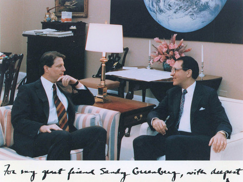 """With then-Vice President Al Gore. The inscription reads: """"For my great friend Sandy Greenberg, with deepest respect and appreciation for all your help."""""""
