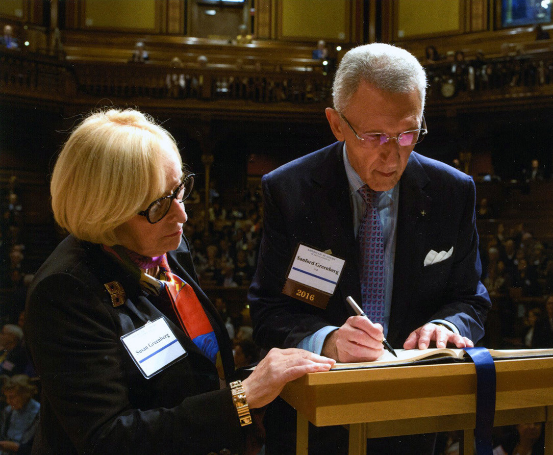 Sue and Sandy at his induction into the American Academy of Arts & Sciences, October 2016.