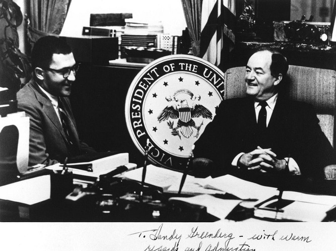 Sandy, as a White House Fellow, visiting with then-Vice President Hubert Humphrey.