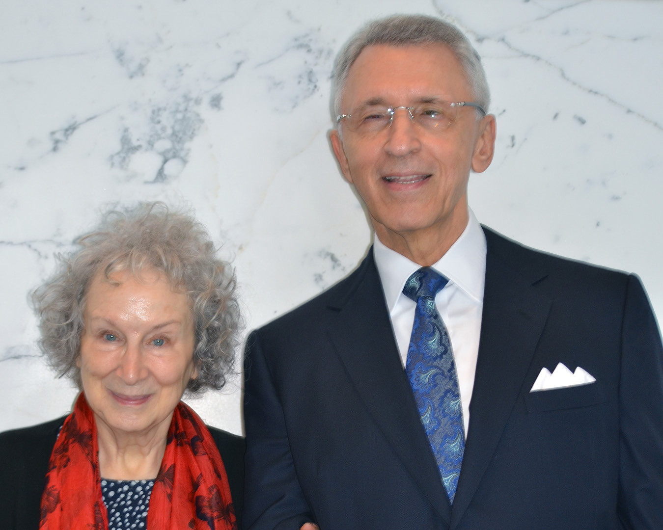 With Booker Prize winning novelist Margaret Atwood. As a Harvard graduate student, Atwood volunteered to read to blind fellow students.