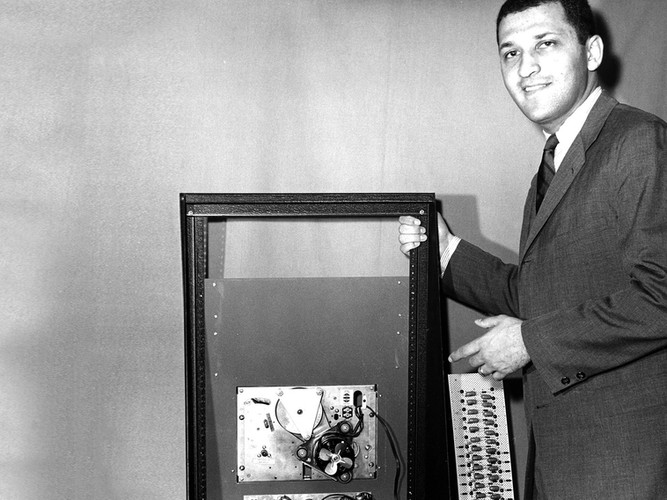 Sandy with the compressed speech machine he invented and patented in the late 1960s.