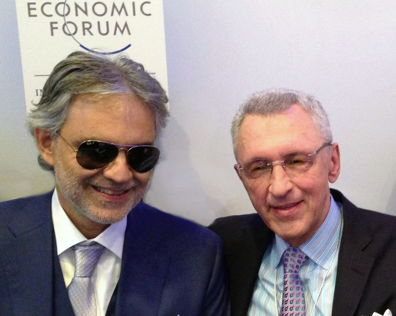 Sandy with the celebrated blind tenor Andrea Bocelli at the World Economic Forum in Davos, Switzerland, 2015.