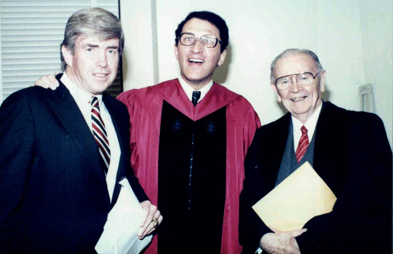 "Sandy with congressman and former Buffalo Bills quarterback Jack Kemp, at left, and Justice William Brennan, during Sandy's 1986 induction as a fellow of Brandeis University. Justice Brennan was one of Sandy's ""wise elders,"" while Kemp's advice to ""throw deep"" has played a key role in his life."