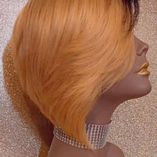 Human Hair Handmade Wig. #1b/27 Short Bob Style