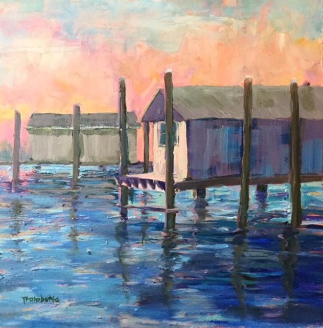 Pink Sky Purple Boathouse