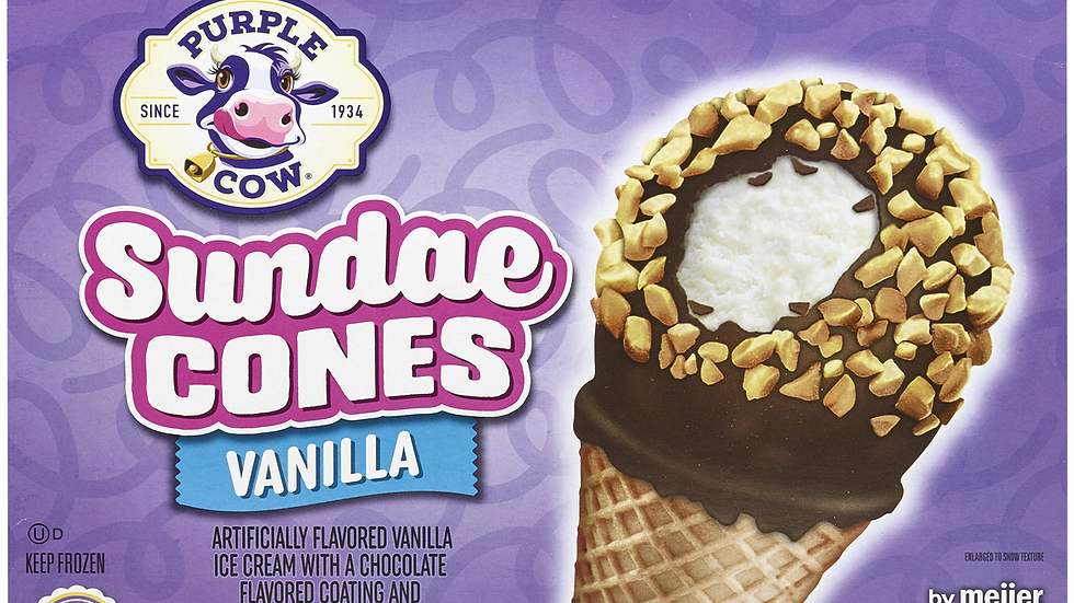 Large Purple Cow Vanilla Cones
