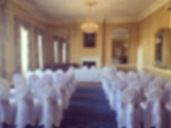 Chair covers with ruffle hoods in white