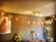 Just Married hessian bunting hung from example ceiling