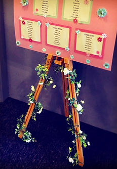 Wooden vintage easel with an example of our table plan