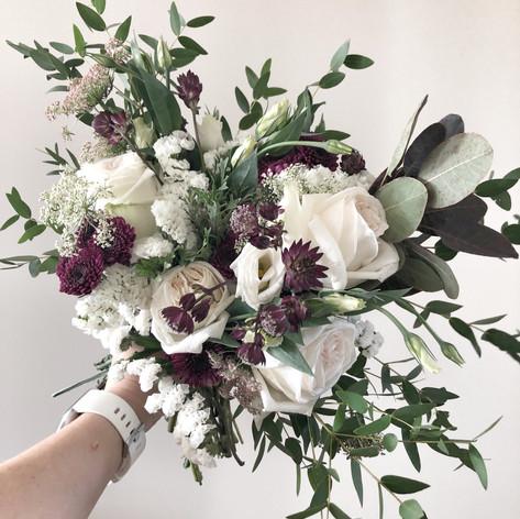 Cream & Burgandy Bridal Bouquet